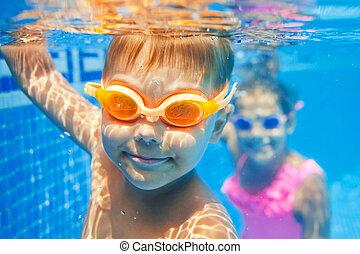 Underwater boy - Close-up underwater portrait of the cute...
