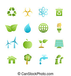 Green eco icons set of apple leaf tree and water isolated...