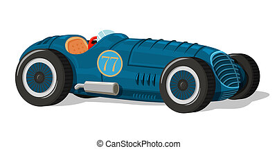 Retro racing car icon isolated vector illustration