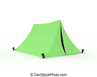 Tent - Green tent isolated on white background