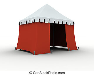 Tent - Red marquee isolated on white background
