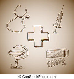 Collection of medical symbols of phonendoscope pills and...