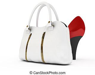Shoes and handbag - Red shoes and white handbag on white...