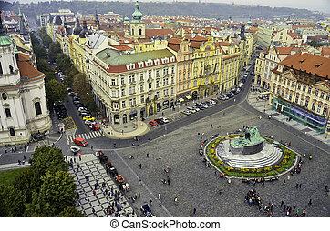 cidade, Praga, quadrado