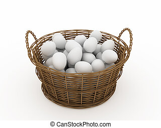 basket with eggs isolated on light background