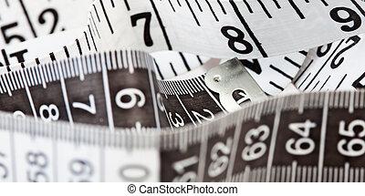 medición, cinta, símbolo, sastrería,...