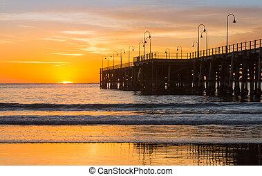 Beach of Coffs Harbour Australia sunrise