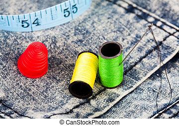 algodão, agulha,  denim, Calças brim, dedal