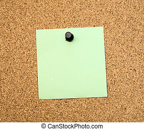 Stickers pinned to a cork board