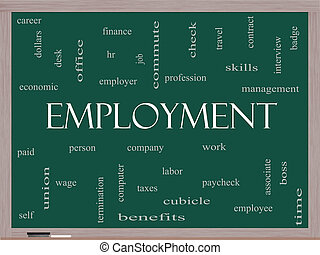 Employment Word Cloud Concept on a Blackboard with great...