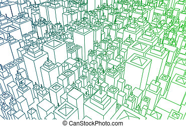 Cartoon Buildings Abstract Background with Lines Only