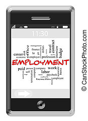 Employment Word Cloud Concept on Touchscreen Phone -...