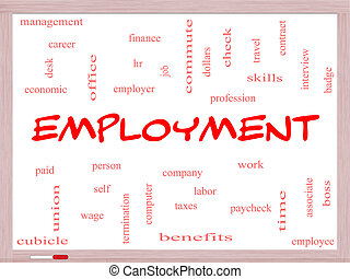 Employment Word Cloud Concept on a Whiteboard with great...