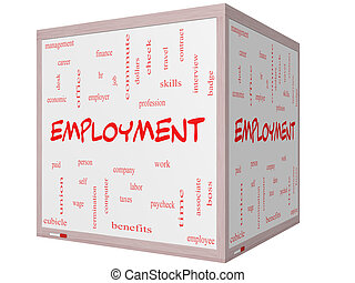 Employment Word Cloud Concept on a 3D Cube Whiteboard with...