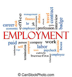 Employment Word Cloud Concept with great terms such as work,...