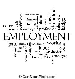 Employment Word Cloud Concept in Black and White -...
