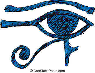 Eye of Ra - hand drawn, cartoon, sketch illustration of Eye...
