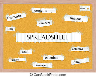 Spreadsheet Corkboard Word Concept