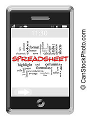 Spreadsheet Word Cloud Concept on Touchscreen Phone