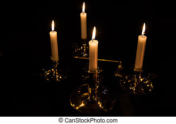 4 Lit Candles with Snuffer - 4 Lit White Candles with...
