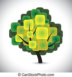 abstract spring tree concept vector with colorful green...