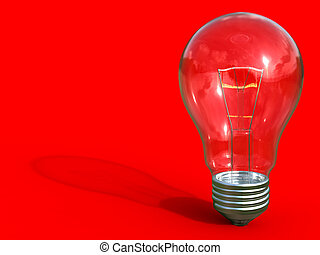 Light bulb - Classic light bulb on red background with...