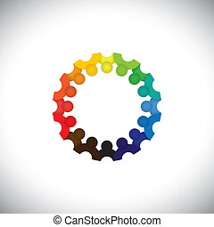 Colorful people community or school children together in circle - vector. This graphic illustration can also represent employee meetings, kids playing, kindergarten school students, etc