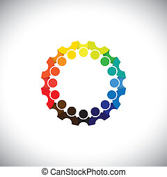 Colorful people community on social media network in circle - vector. This graphic illustration can also represent employee meetings, kids playing, kindergarten school students, etc