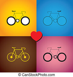 colorful abstract set of bike or cycle icons - vector graphic.
