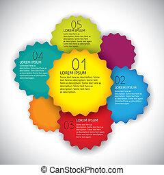 färgrik, vektor, design, layout, Mall, numrerar,...
