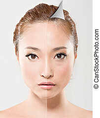 Face of beautiful Asian woman before and after retouch,...
