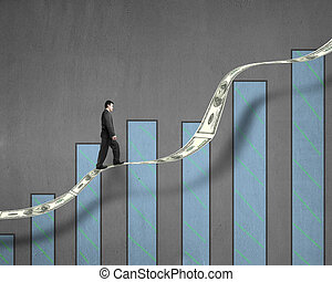 Businessman walking on growth money trend with chart in...