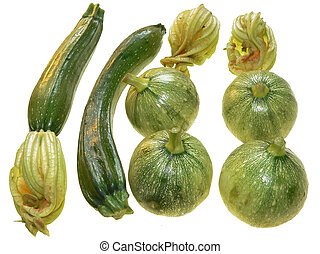 courgettes with flowers close up