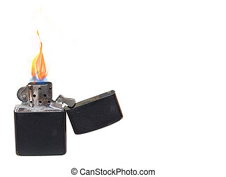 lighter - black lighter with flame