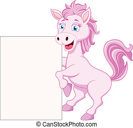 horse cartoon character - vector illustration of horse...