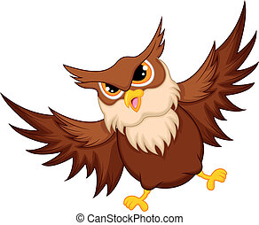 Owl cartoon flying - vector illustration of Owl cartoon...