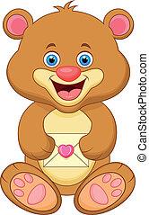 Bear cartoon holding envelope - vector illustration of Bear...