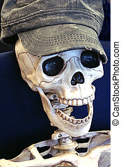 Close Up of Skeleton Wearing a Hat