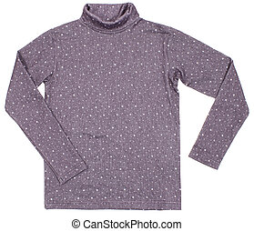 Gray polka-dot turtleneck. Isolated on a white