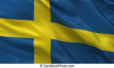 Flag of Sweden seamless loop - Flag of Sweden waving in the...
