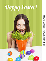 Happy Easter card green - Excited girl and painted eggs on a...