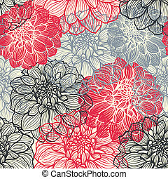 Hand-drawn flowers of dahlia. Seamless vector pattern....