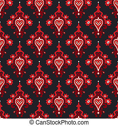 Seamless pattern Damask vector - Seamless red heart pattern...
