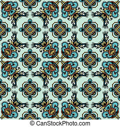 Dutch tile in medieval style - Seamless pattern ethnic...