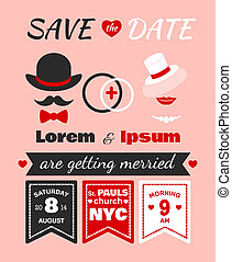 Hipster wedding invitation card of lorem and ipsum template...