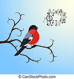 Singing bullfinch bird on a tree branch vector illustration