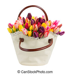 Bag  of tulips flowers