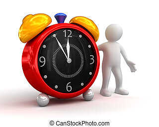 Person showing alarm clock. Business concept isolated on...