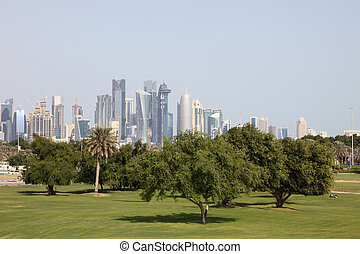 Green park in Doha, Qatar, Middle East
