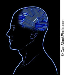 Computer In Head - Abstract image - Computer In Head - Brain...